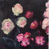 Drieluik rozen, acryl op paneel, 15 x 45 cm (1)
