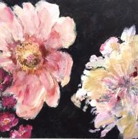 Drieluik rozen, acryl op paneel, 15 x 45 cm (2)