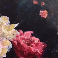Drieluik rozen, acryl op paneel, 15 x 45 cm (3)