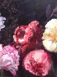 Drieluik pioenrozen, acryl op paneel, 15 x 45 cm (2)