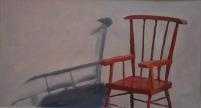Rode stoel. Olieverf op papier.