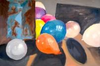 Ballonnen. Olieverf op papier.