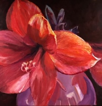 Amaryllis, acryl en olieverf op doek, 100 x 100 cm