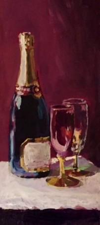 Champagne, 30 x 15 cm. acryl op karton.