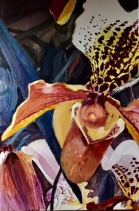 Venusschoentje, 100 x 80 cm, olieverf op doek.