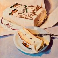 Chipolata, 30 x 30 cm, olieverf op doek, in opdracht ter gelegenheid van afscheid bakker Broer.