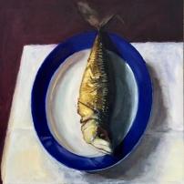 Gerookte Makreel, 100 x 100 cm, olieverf op linnen.