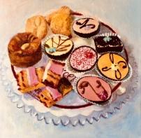 Gebak assorti, 30 x 30 cm, olieverf op doek. In opdracht ter gelegenheid van afscheid bakker Broer.