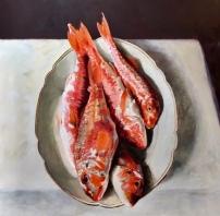 Rode Mul, 100 x 100 cm, olieverf op linnen.